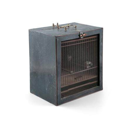 A CHINESE UNUSUAL 19TH CENTURY BOXWOOD BIRD CAGE, contained within original ebonized case with drop