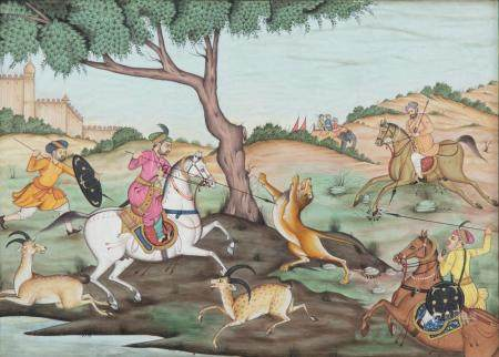INDIAN SCHOOL A hunting party on horseback with lion and antelope Gouache, 22 x 29.5cm