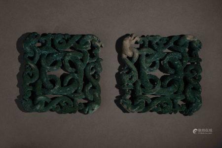 戰國 青銅交龍牌飾