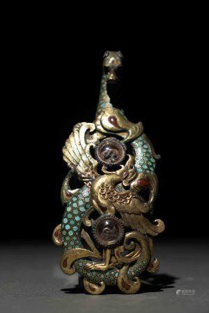 漢 青銅錯金銀四神浮雕嵌琉璃帶鉤