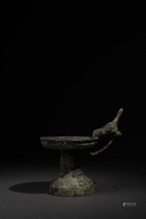 漢 青銅鳥銜燈盤油燈