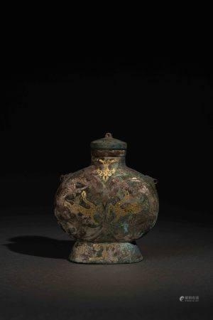 漢 青銅錯金銀扁壺