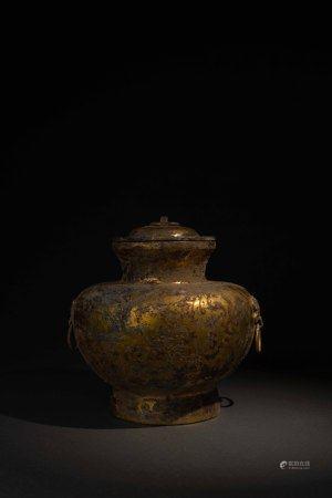 漢 銅鎏金錯銀壺