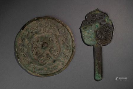宋以前  銅手鏡 / 銅龍紋葵形鏡