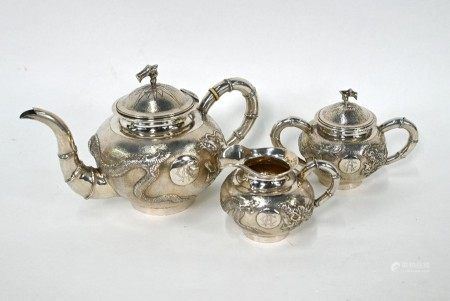 Chinese export silver 'dragon' tea service