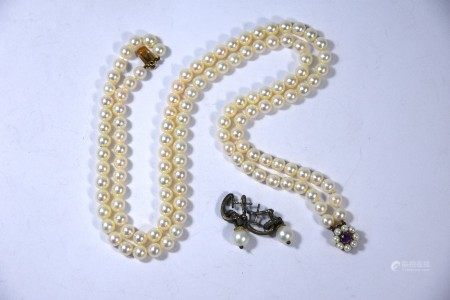 A double row of uniform cultured pearls