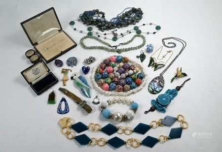 A collection of vintage and later costume jewellery