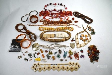 Various bead necklaces and earrings