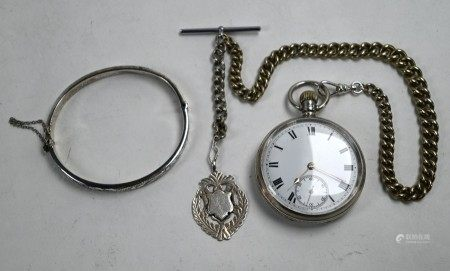 Silver pocket watch on ep chain, with silver bangle