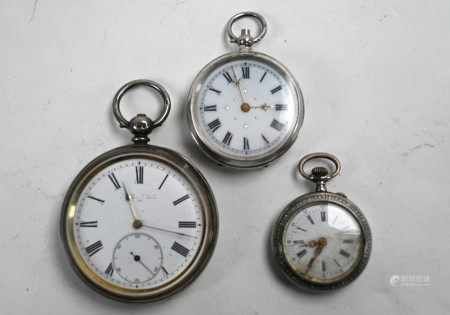 Three silver pocket watches