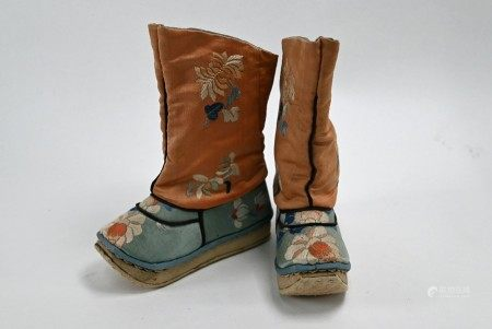 A pair of traditional Chinese embroidered floral silk boots, late Qing or Republic period