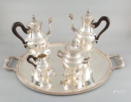 CHRISTOFLE France. Service à thé et à café de 5 pièces en métal argenté, les anses en bois noir