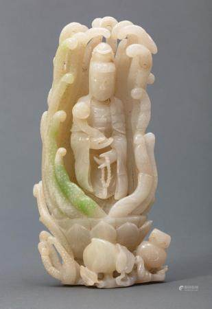 Chinese Jadeite Figure of Guanyin