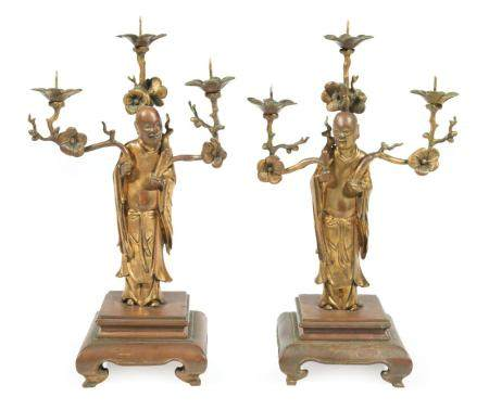 Chinese Gilt Bronze Figural Pricket Candle Sticks