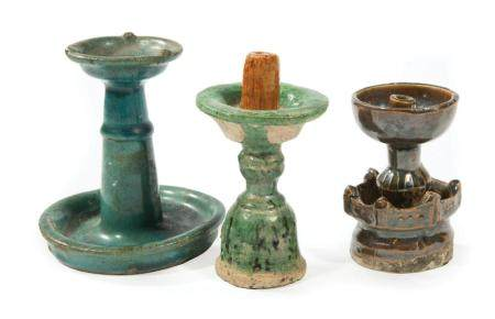 Three Chinese Glazed Pottery Oil Lamps