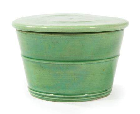 Chinese Lime-Green Glazed Porcelain Covered Pot