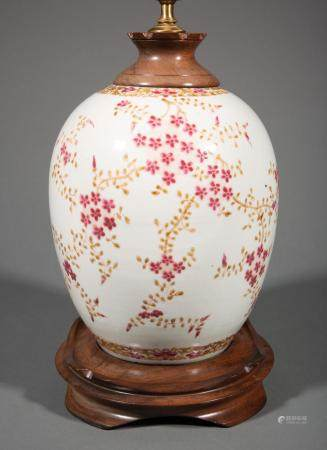 Chinese Famille Rose Porcelain Ovoid Jar