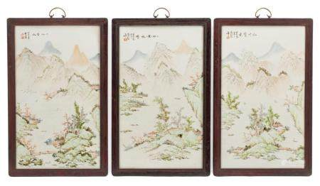 Chinese Framed Polychrome Porcelain Wall Panels