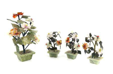 Four Chinese hardstone flower groups, largest 22cm high, (4),