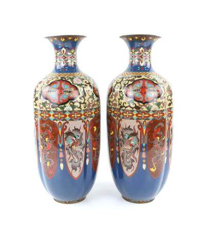 Pair of Chinese cloisonne vases of lobed form with alternating panels of dragons and exotic birds,