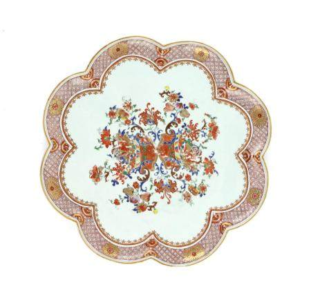 Chinese eight-lobed dish decorated with flowers and foliage in gilt and colours, 41cm wide,