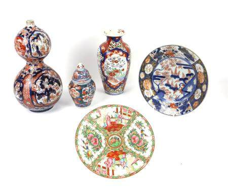 Collection of Asian and other ceramics, including Imari, European ice pail, 19th century double