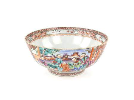 Chinese porcelain bowl decorated with panels of figures in an outdoor setting, on round foot,