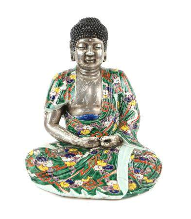 Chinese porcelain figure of Buddha seated in full lotus position, hands in a mudra,