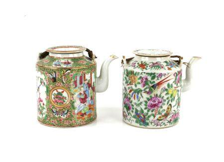 Two early 20th century Chinese famille rose teapots and covers, one decorated with panels of