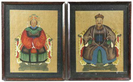 Pair of Chinese ancestor paintings on fabric, the figures seated on oxbow throne chairs with tiger