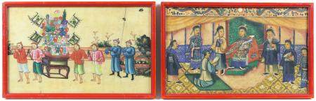 Two Chinese pith paper paintings, the first depicting an emperor or other important figure on a