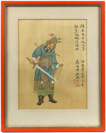 Chinese watercolour painting depicting a warrior with his sword, with calligraphy and red seal mark,