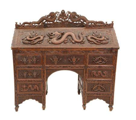 Early 20th century Chinese hardwood bureau, with raised back, over fall front enclosing drawers and