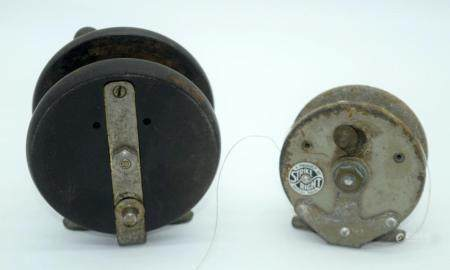 A vintage Alcock Aerialite fishing reel together with a Right strike reel