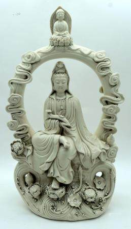A large Chinese Blanc de Chine figure of Guanyin 51 x 28cm