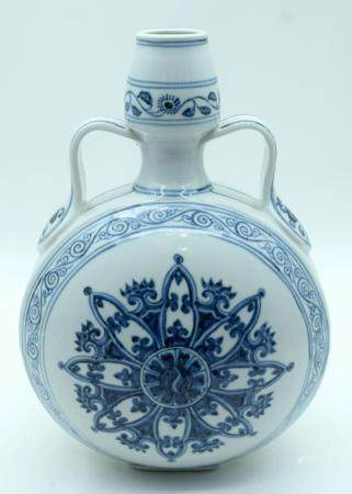 A Chinese Blue and white moon flask 32cm.