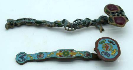 A Chinese Cloisonne Rui Sceptre together with another sceptre 26cm (2)