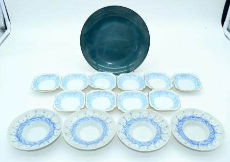 A Catherine Holm enamelled plate together with a group of small dishes 19cm (15)