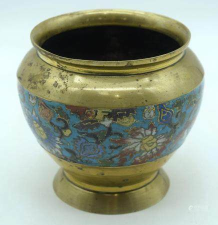 A Chinese bronze pot decorated with Cloisonne enamel 13cm.