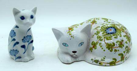 A Pottery Glazed cat with an elaborate flower pattern together with another ceramic cat 19cm (2)
