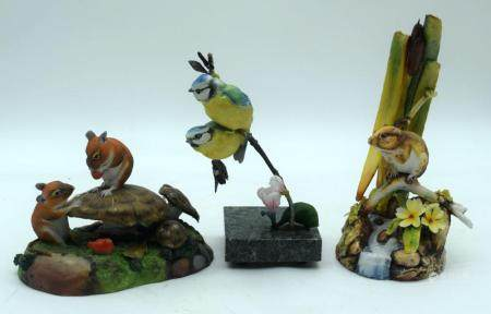 A Collection of Quality ceramic animals/birds by Hereford and Connoisseur 20cm (3).
