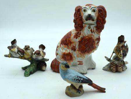 A Collection of ceramic birds together with a Staffordshire dog 19cm (4).
