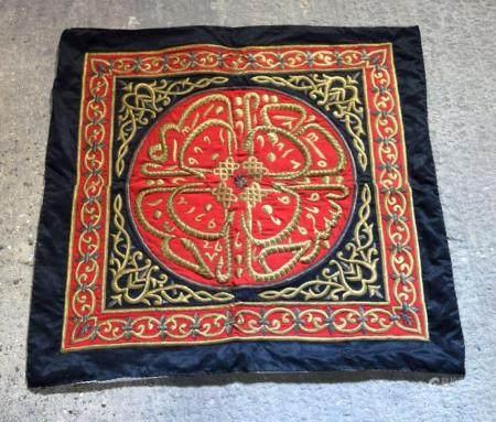 An Islamic metal thread hanging fabric 115 x112cm.