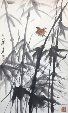 王子武 竹雀圖 出版于王子武畫冊P19
