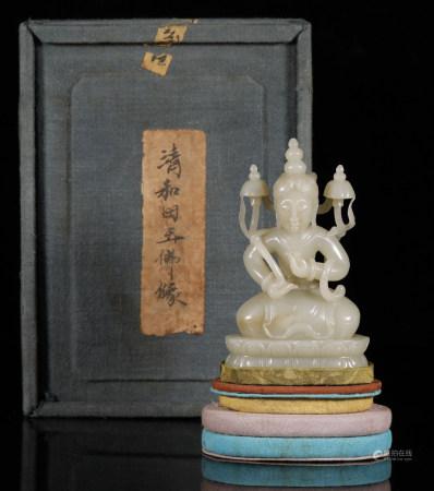 Qing Dynasty - Hetian Jade Buddha Statue