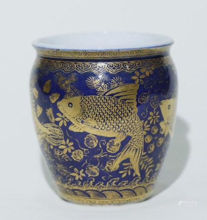 Qing Dynasty - Fish Pattern Blue Glaze Jar