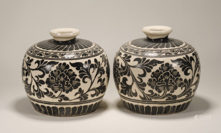 Song Dynasty - Pair of Cizhou Ware Vases