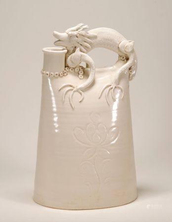 Liao Dynasty - Dragon Pattern White Glaze Jar