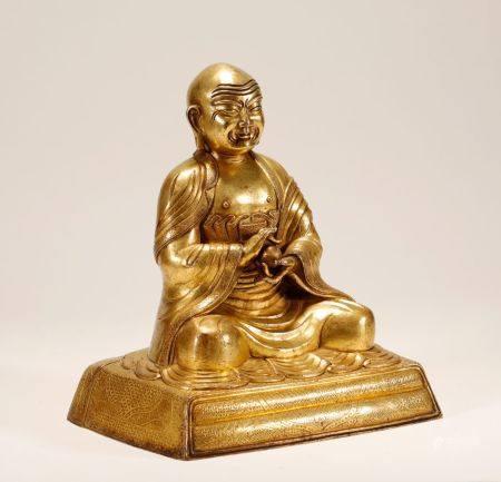 Qing Dynasty - Gilt Guru Statue