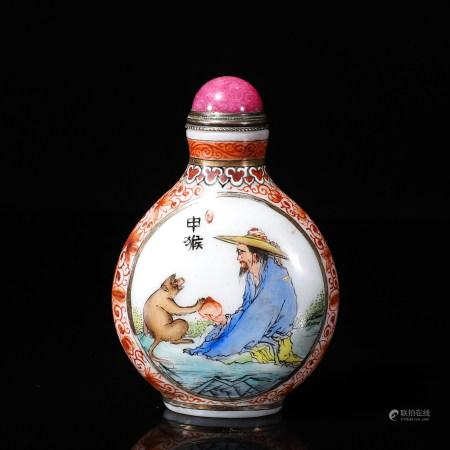 A Chinese zodiac patterned glass snuff bottle